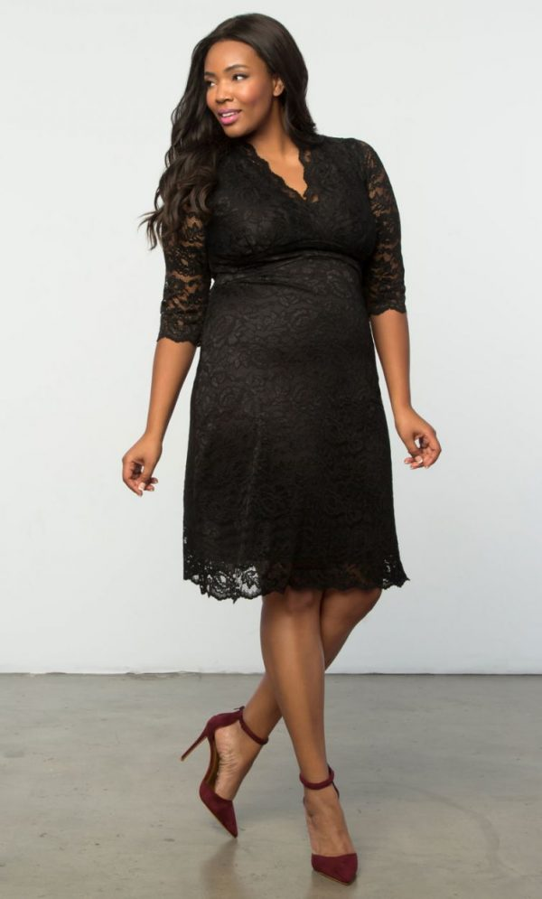 Kiyonna Womens Plus Size Scalloped Boudoir Lace Dress Black Lace / Black Lining