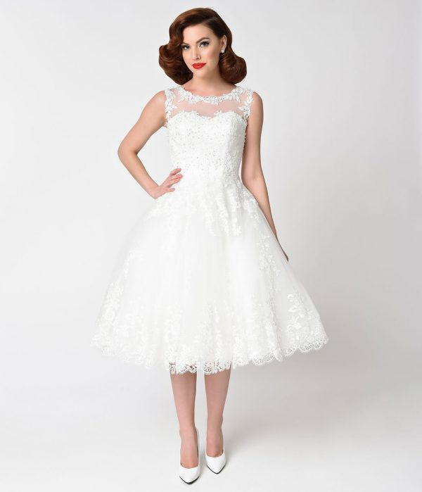 Unique Vintage 1950S Style Ivory Lace & Tulle Riviera Bridal Dress