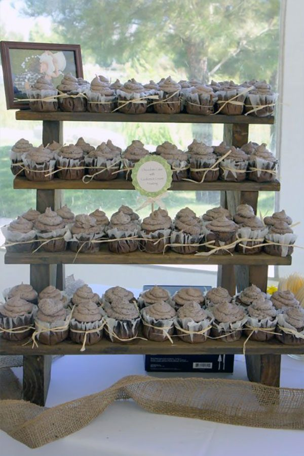 Country wedding cupcake dessert stand for the sweets table. $85.00. Learn more or buy in the My Online Wedding Help products section. #CountryWedding