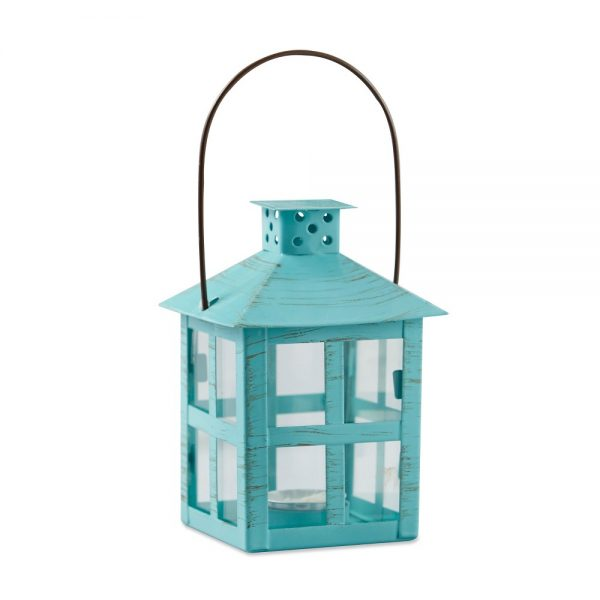 Kate Aspen Set Of 2 Vintage Distressed Lantern Blue