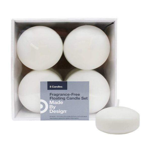 "2.5"" x 1.5"" 8pk Unscented Floating Candles White - Made By Design"