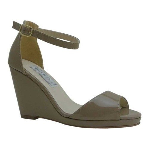 Women's Touch Ups Holly Platform Wedge, Size: 10.5 M, Dark Nude Patent