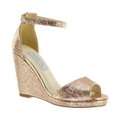 Women's Touch Ups Holly Platform Wedge, Size: 10 M, Rose Gold Foil