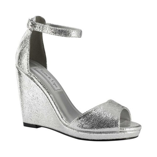 Women's Touch Ups Holly Platform Wedge, Size: 8.5 M, Silver Foil