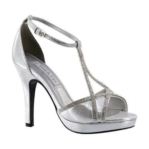 Women's Touch Ups Harlow T-Strap Platform Sandal, Size: 9.5 M, Silver Shimmer