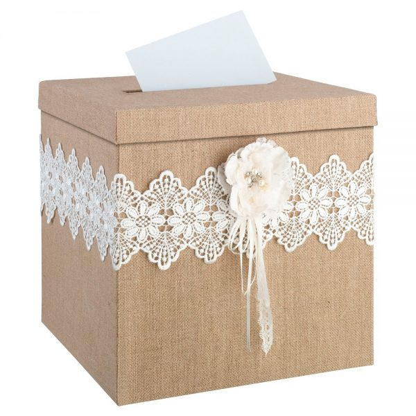 Burlap and Lace Card Box, Beige