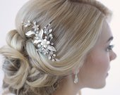 Floral Bridal Hair Clip, Bridal Hair Accessory, Pearl Rhinestone Bridal Clip, Floral Wedding Hair Comb, Pearl Wedding Hair Clip TC2276