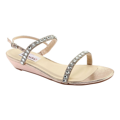 Women's Dyeables Jasmine Wedge Sandal, Size: 7.5 W, Champagne Shimmer
