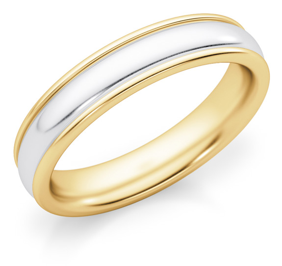 4mm Two-Tone Gold Plain Wedding Band Ring