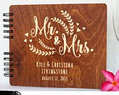 Personalized Rustic Wedding Guest Book Wooden Hand Made Wood Alternate Mr Mrs Guestbook Custom Newlywed Wedding Guest Register Polaroid