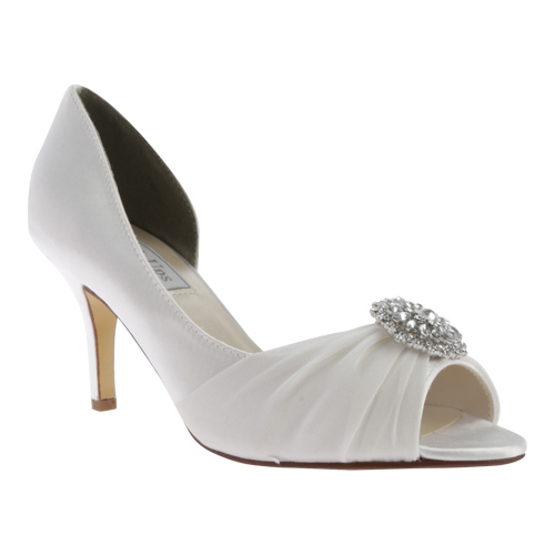 Women's Touch Ups Helen Jeweled Pump, Size: 8.5 M, White Satin