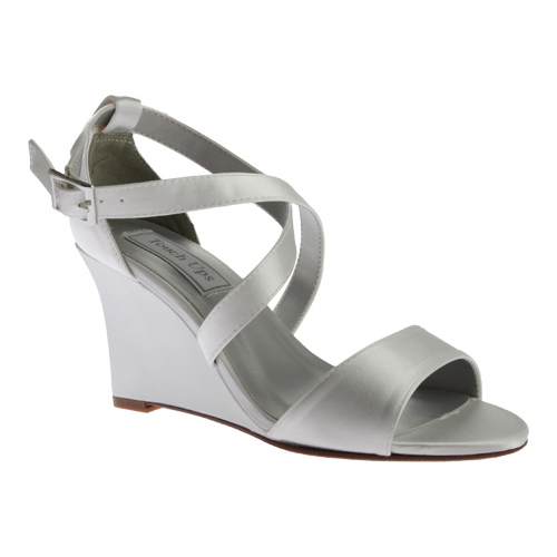 Women's Touch Ups Jenna Wedge Sandal, Size: 8 M, White Satin