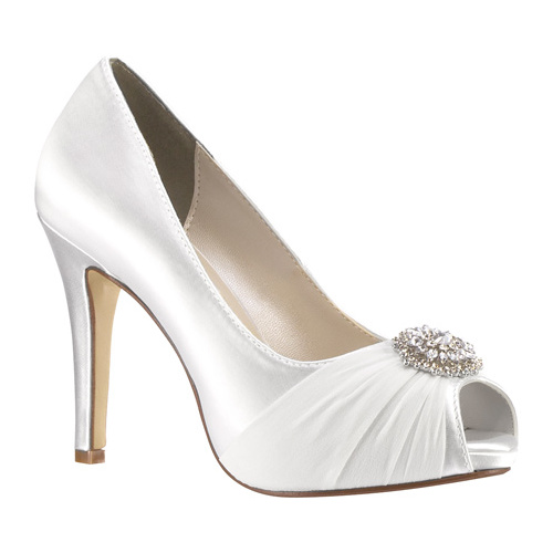 Women's Touch Ups Antonia Peep Toe Pump, Size: 6.5 M, White Satin