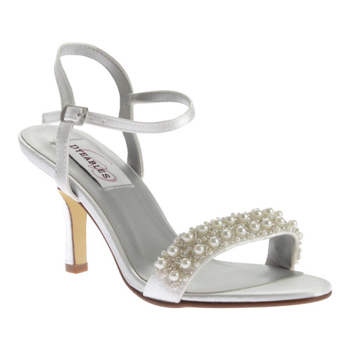 Women's Dyeables Anabelle Ankle Strap Sandal, Size: 7 M, White Satin