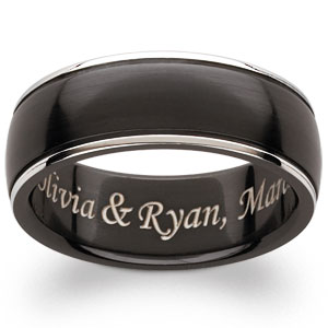 Black Titanium Beveled Edge Engraved Band