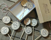 Rustic Wedding Cupcake Toppers Custom Initials Hearts Wood / Bridal Shower Party Picks / Wedding Decor / Bride and Groom Heart cake topper