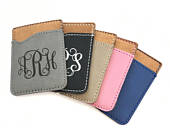 Monogrammed Phone Wallet in Five Colors, Credit Card Holder for Phone, Fits any Cell Phone or Case, Personalized Cell Phone Caddy Engraved