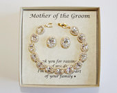 Mothers gift, Custom Engraved Mother of the groom set, Mother of the bride set, Bridal bracelet earrings, Mother jewelry, Mother in law