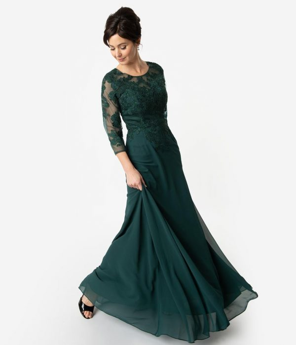 Hunter Green Chiffon Embellished Modest Sleeved Long Dress