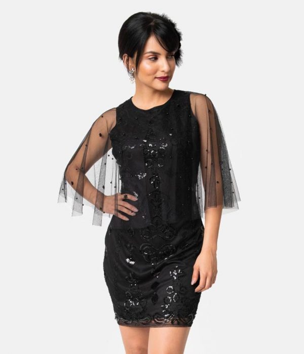 Unique Vintage Black Beaded Mesh Cape Olivette Cocktail Dress