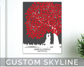 Wedding Tree Guestbook // with Personalized Skyline Silhouette // 100 Signature Guestbook // Poster or Canvas // WT051PS HH3