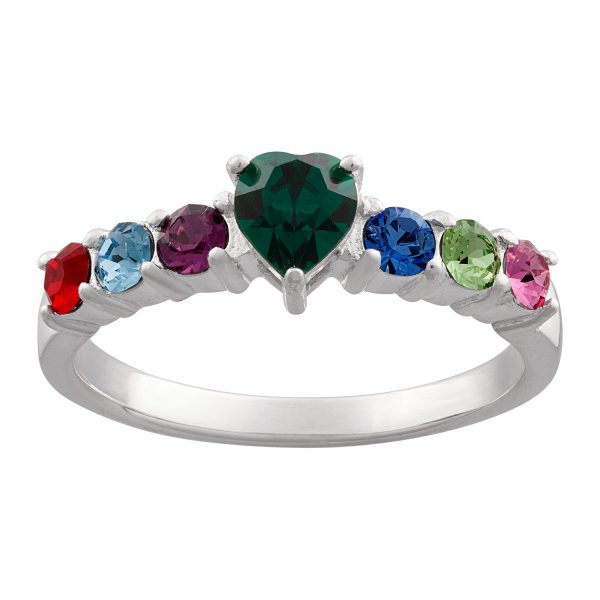Sterling Silver Mother's Heart Family Birthstone Ring