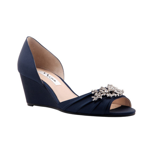 Women's Nina Emiko Ornamented Wedge, Size: 6 M, New Navy Luster Satin