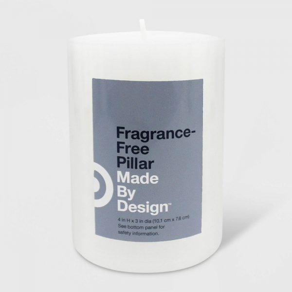 "4"" x 3"" Unscented Pillar Candle White - Made By Design"