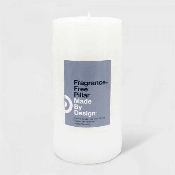 "6"" x 3"" Unscented Pillar Candle White - Made By Design"