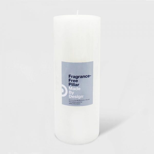 "8"" x 3"" Unscented Pillar Candle White - Made By Design"
