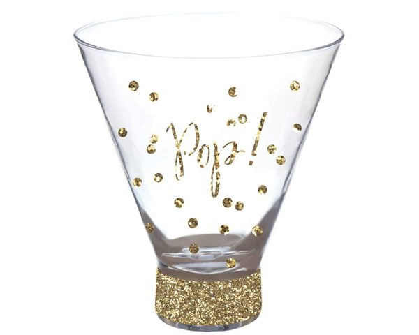 """Pop"" Stemless Martini Glass with Glitter Foil Print"