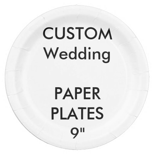Custom Large Disposable Wedding Paper Plates 9""