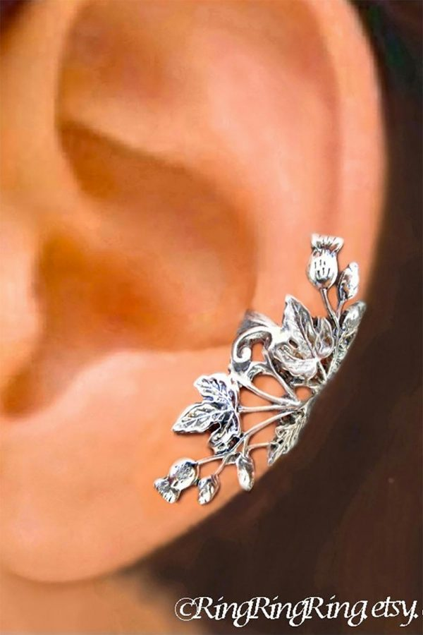 Sterling silver floral ear cuff. Exclusively from RingRingRing. $59.00 each cuff. Learn more or buy in the My Online Wedding Help products section. #EarCuffs #StatementEarrings #WeddingJewelry