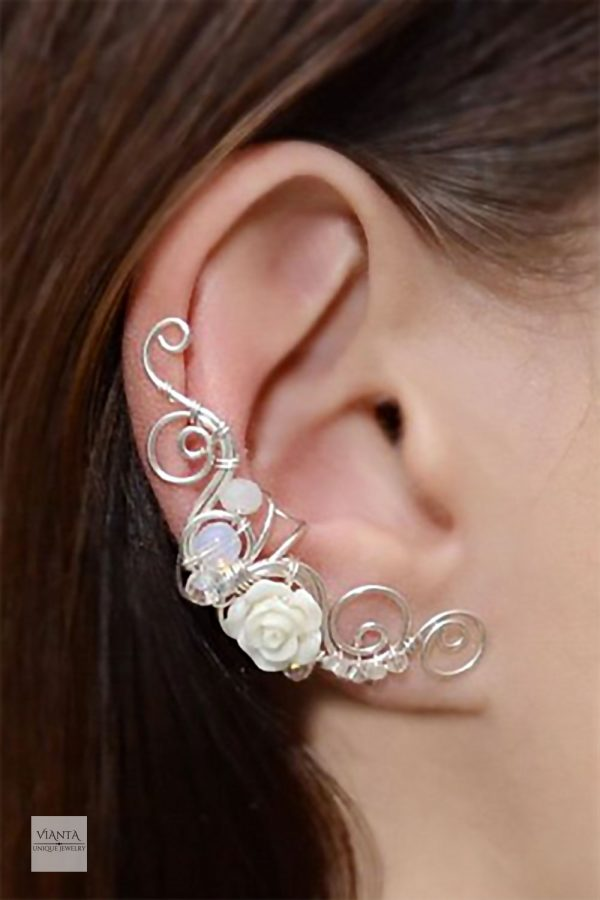 Gemstone rose ear cuff climber. This one's white moonstone with crystal beads. Sterling silver. Other colors, too. $24.59 Nice for wedding jewelry. Learn more or buy in the My Online Wedding Help products section. #WeddingJewelry #Earcuff