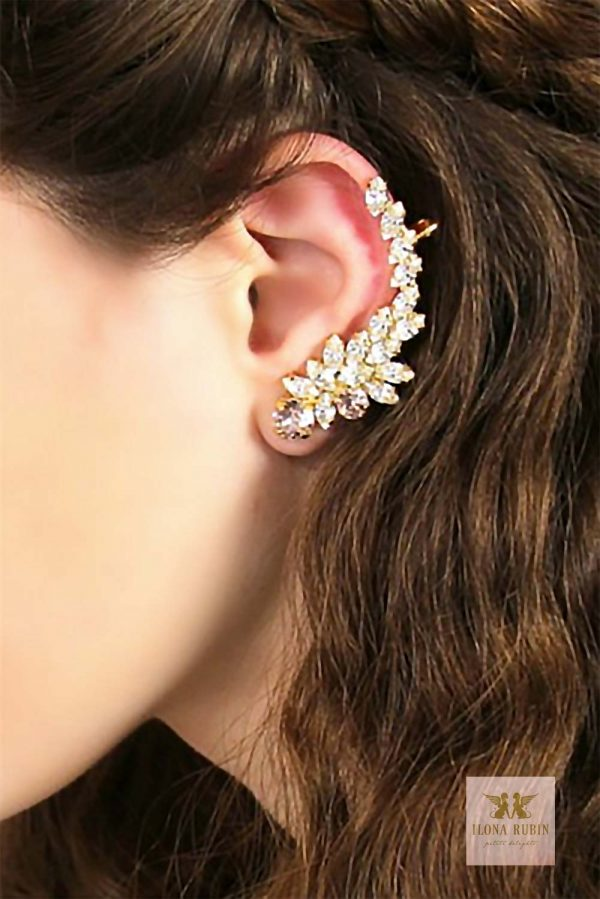 Swarovski crystal bridal ear climber cuff. Quite a statement piece of jewelry. It's nickel free. $54.00 learn more or buy in the My Online Wedding Help products section. #BridalEarring #StatementJewelry #Earcuff