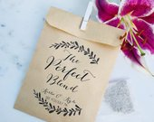 Wedding Favor Bags! The Perfect Blend Personalized Coffee or Honey Tea Favor Bags Custom Printed on Kraft Brown Paper Bags