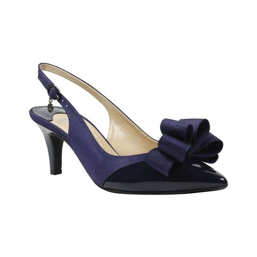 Women's J. Renee Gabino Pointed Toe Slingback, Size: 8 M, Navy Patent/Navy Fabric