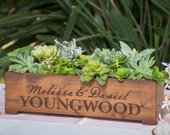 Personalized Rustic Wood Planter Box Wedding Centerpiece Vase First Names and Last Name, Custom Text Engraved