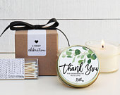 Bridal Shower Favors Bridal Shower Candles Eucalyptus Favor Candles Personalized Favor Candles Greenery Candle Favors Set of 6