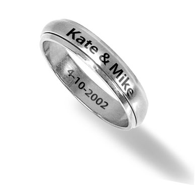 Women's Stainless Steel 6mm Custom Engraved Spinner Ring