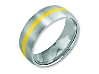 Chisel Stainless Steel 14k Yellow Inlay 8mm Brushed Weeding Band