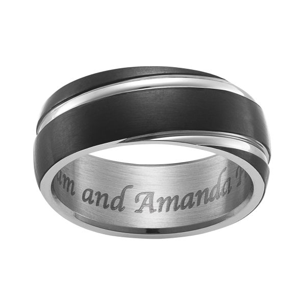 Stainless Steel Engraved Black & Silver Band