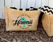 5 Hawaii Maui Palm Tree Stamp Destination Custom Destination Wedding Welcome Beach Burlap Tote Bags Handmade Favors Bridesmaids Gifts