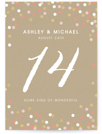 Golden Glittering Confetti Table Numbers
