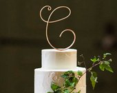 Monogram Wire Wedding Cake Topper Rustic Chic Initial Custom Personalized Anniversary Cursive Reusable Metal Industrial Elegant Simple