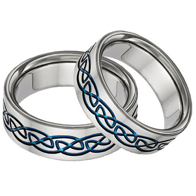 Blue Titanium Celtic Wedding Band Set