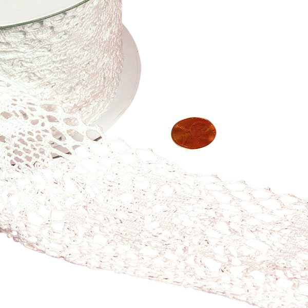 "Lace Trim 10 Yards Cotton - Ribbon Width: 2 3/4"" Length: 10 yd by Paper Mart"