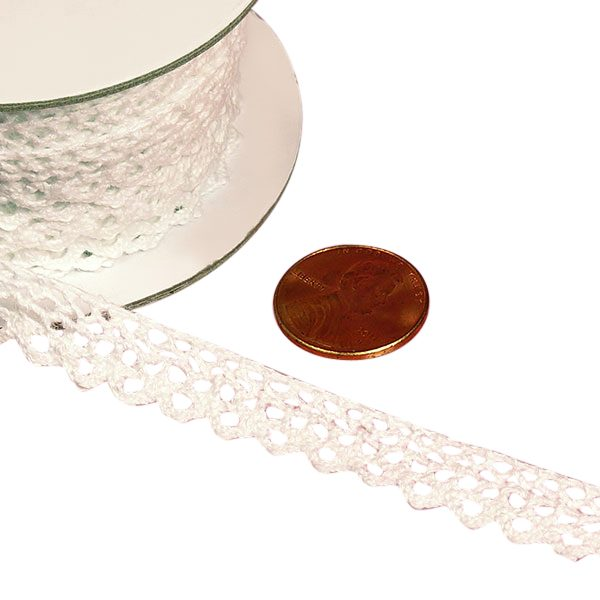 Cotton White Lace Trims 10 Yards by Ribbons.com | Width: 3/8""