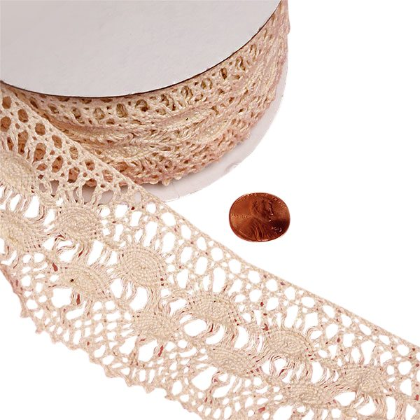 "Ivory Lace Ribbon 10 Yards Lace Trim Crochet Lace Trims Cotton Width: 2 1/3"" Length: 10yd by Paper Mart"
