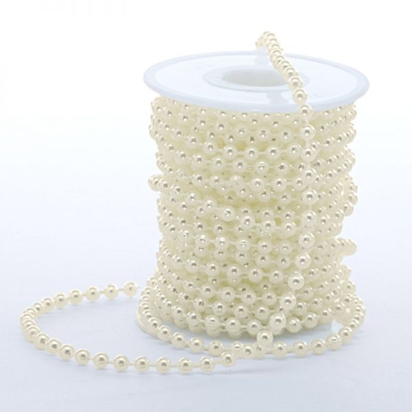 Satin 8mm X 10 Yards Ivory Pearl Chain by Ribbons.com